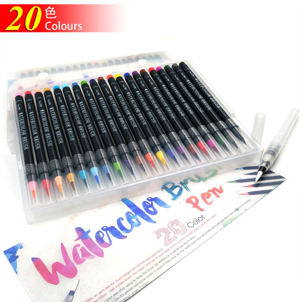 20 Colors Painting Brush Pens Set Soft Brush Pen Set Watercolor Fineliner Art Markers for Manga Graffiti Comic Calligraphy 20 color premium painting soft brush pen set watercolor art copic markers pen effect best coloring books manga comic calligraphy