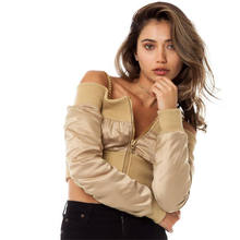 Women's Autumn Short Off Shoulder Coat Long Sleeve Zip Up Baseball Bomber Jacket Black Khaki(China)