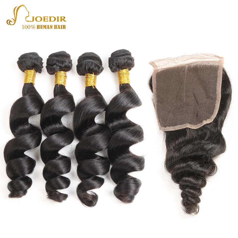 JOEDIR Hair Pre-colored Indian Loose wave Closure 4*4 100% Human Hair Bundles With Closure Non Remy Hair Extensions