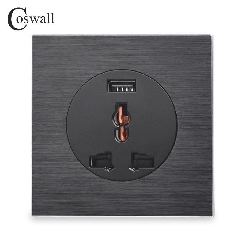 Coswall Aluminum Metal Panel 13A Wall Outlet Universal 3 Hole UK EU Power Socket With USB Fast Charging Port DC 5V 2A R12 Series british mk british unit power supply socket metal 13a power outlet british standard unit socket