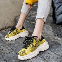 MLJUESE 2019 fashion sneakers snakeskin snake strip yellow lace up autumn spring loafers Vulcanize Shoes platform sneakers