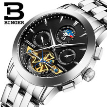 2016 new Switzerland Binger man watch Black dail business automatic watches High quality Steel strap men