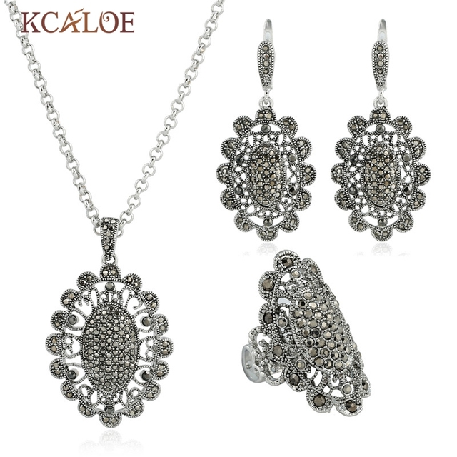 Luxury Rhinestone Jewelry Sets Vintage Retro Full Crystal Cubic Zirconia Antique Silver Plated Necklace Earrings Ring Set