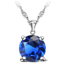 Round Necklaces & Pendants 925 Sterling Silver Women Necklace With Cubic Zircon Statement Jewelry 7Colors(China)