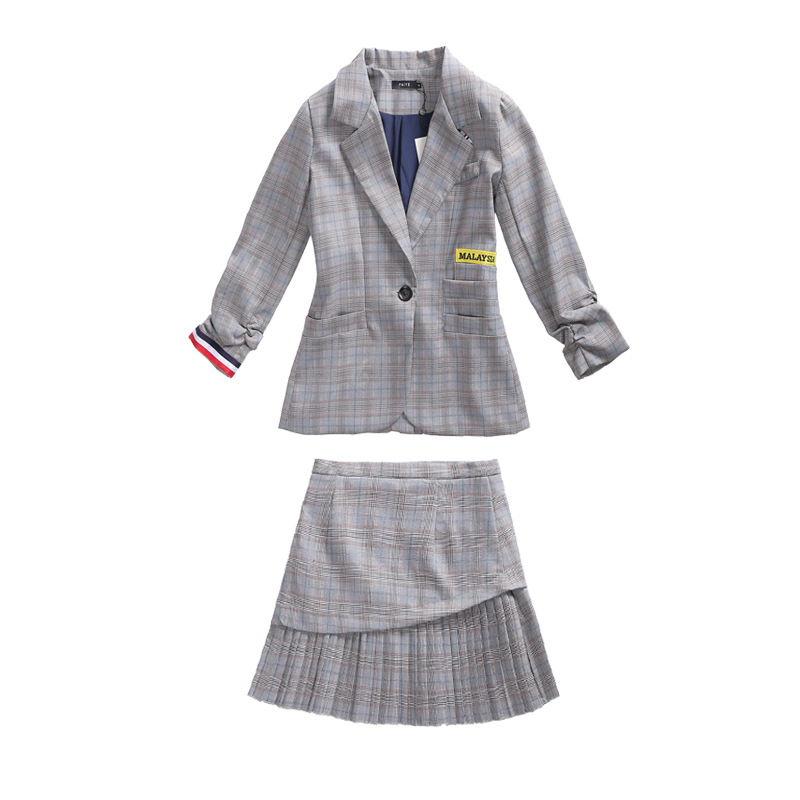 Set female fashion temperament small suit pleated skirt 2 piece set female OL professional elegant suit 2019 new female autumn in Women 39 s Sets from Women 39 s Clothing