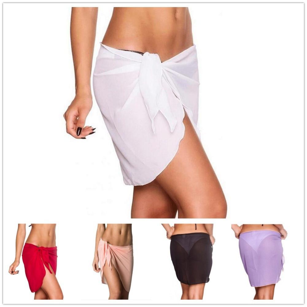 2018 Summer Womens Sarong Wrap See Through Bikini Cover Round Short Swim Sarong White Red Scarf Chiffon Beach Coverup Plus Size