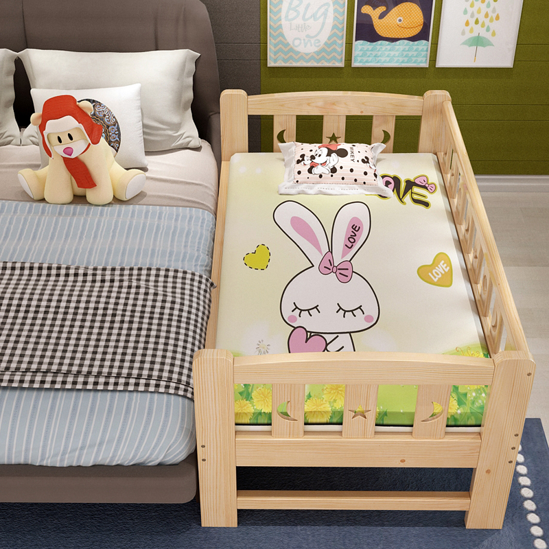 Real wood children's bed with a small bed in the guardrail bed baby bed teddy in bed