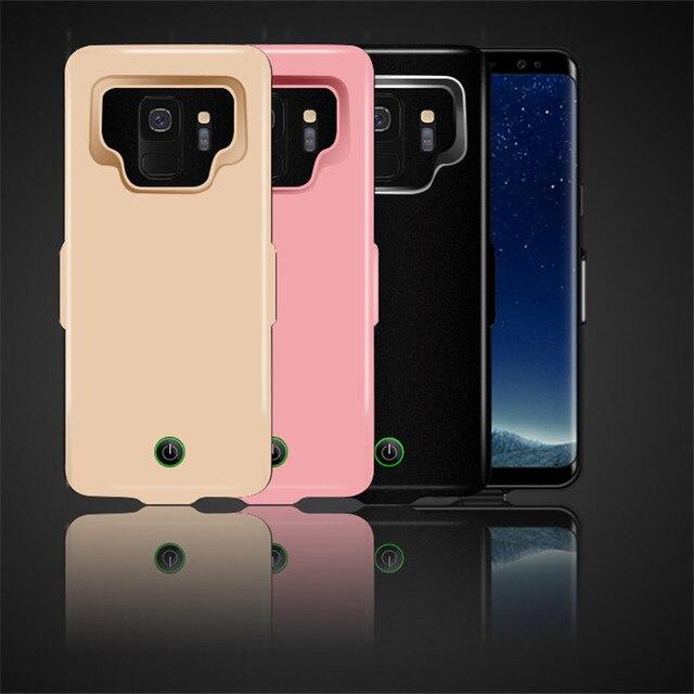 Funda de cargador de batería de 7000 mah para la cubierta de la energía del teléfono de la carga del TPU suave del Samsung galaxy S9 Plus para la carga del coche de Samsung