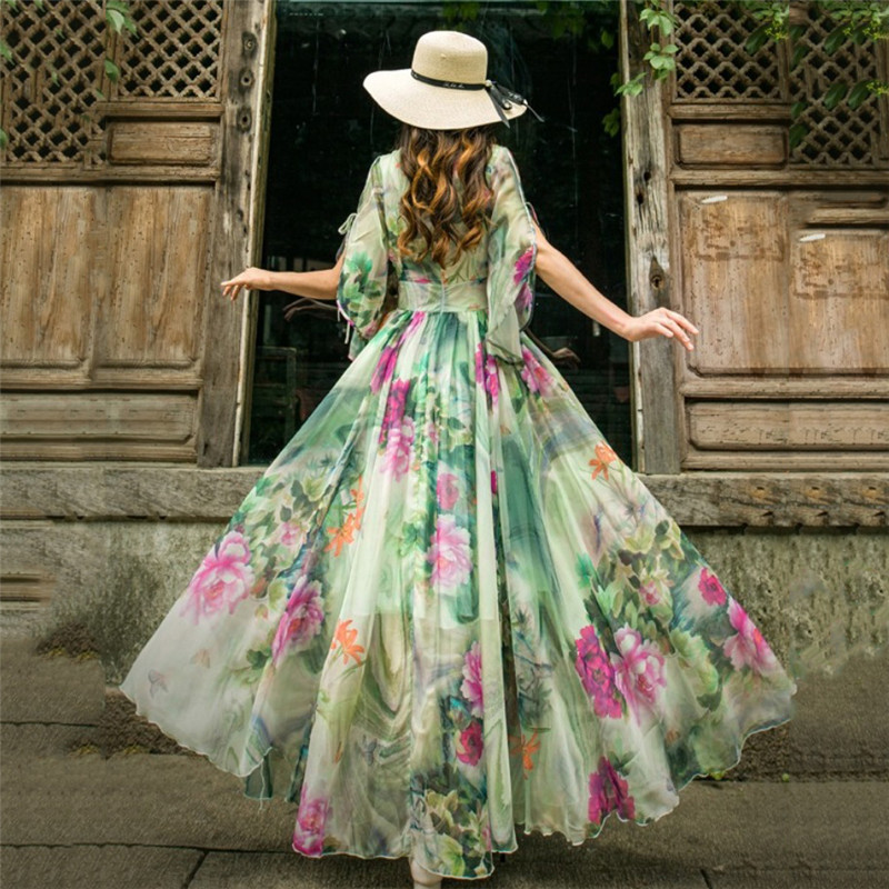 Robe d'été femmes blanc vert S-2XL grande taille en mousseline de soie cheville longueur robe 2019 nouvelle mode chinoise imprimer Maxi robe Vestido JD96