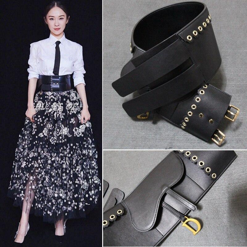 Large femmes Cummerbunds deux boucles en cuir véritable ceintures lettre ceinture pour robe survêtement noir Y269