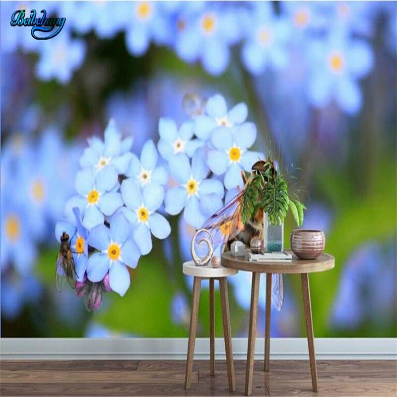 Beibehang Biru Muda Bunga Hd Anggrek Besar Kustom Kain Bukan