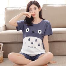 Summer Women s Cotton Pajamas Mujer Pijama Sets Ladies Sweet Cartoon Totoro Sleepwear Female Girl Pajama