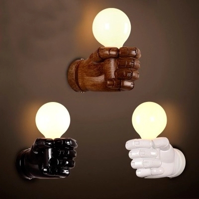 Nordic Loft Style Creative Resin Fist Wall Sconce Industrial Vintage ...