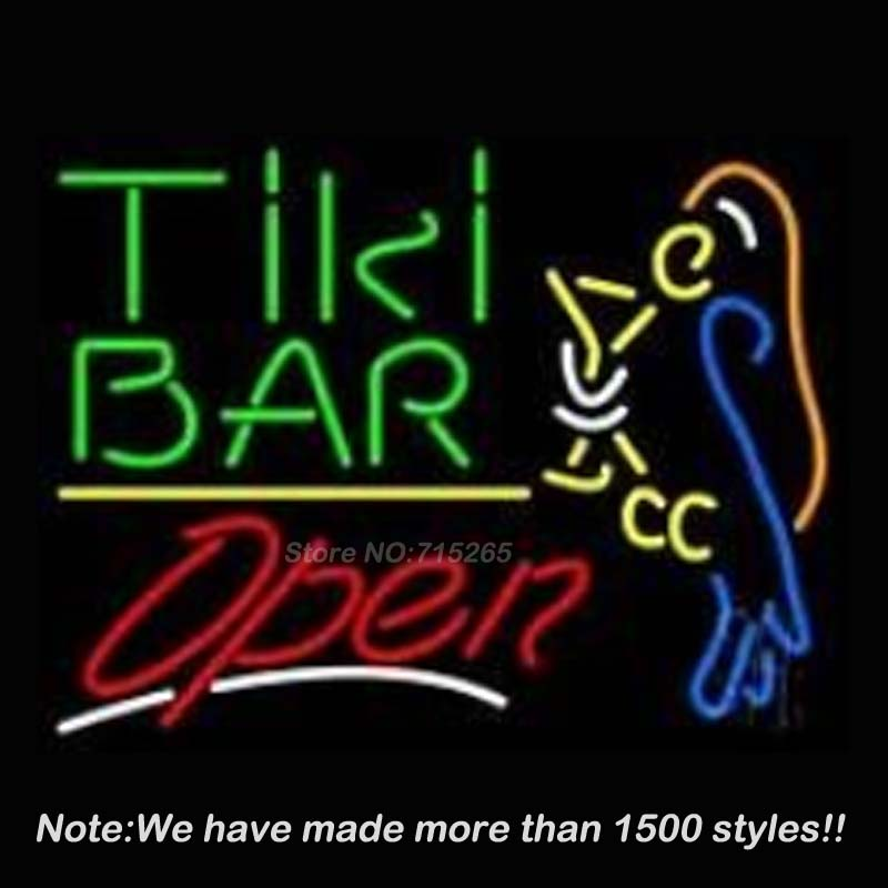 Tiki Bar with Parrot Martini Glass Open Business Handcrafted Real Glass Tube Neon Light Sign Beer Bar Pub Design 19x15