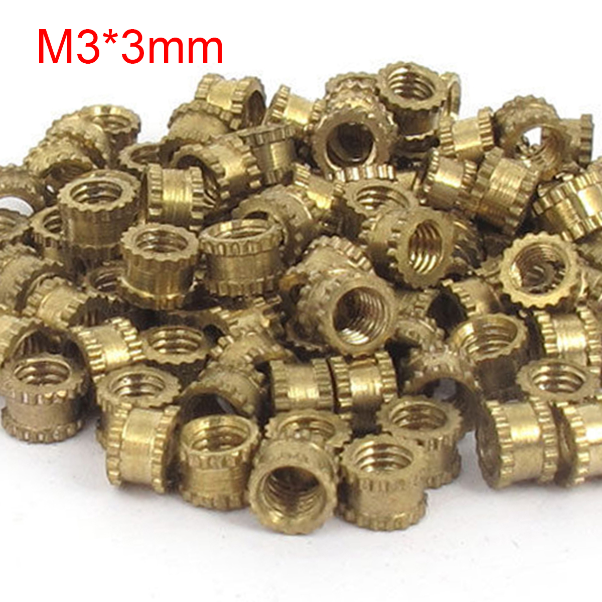 100pcs 4.2mm Diameter Round Metal Knurl Thread Insert Nuts M3*3mm Threaded Brass Tone