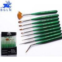 BGLN 9Pcs/set Nylon Hair Nail Art Brush Wooden Paint Brushes Set Artists Paint Brush For Acrylic Oil Watercolor Nail Brush