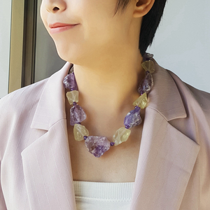 Image 2 - LiiJi Unique Real Amethysts Lemon quartzs Raw Stone Jades Toggle Clasp Huge Chunky Necklace 50cm/20inches Mothers Day Nice Gift
