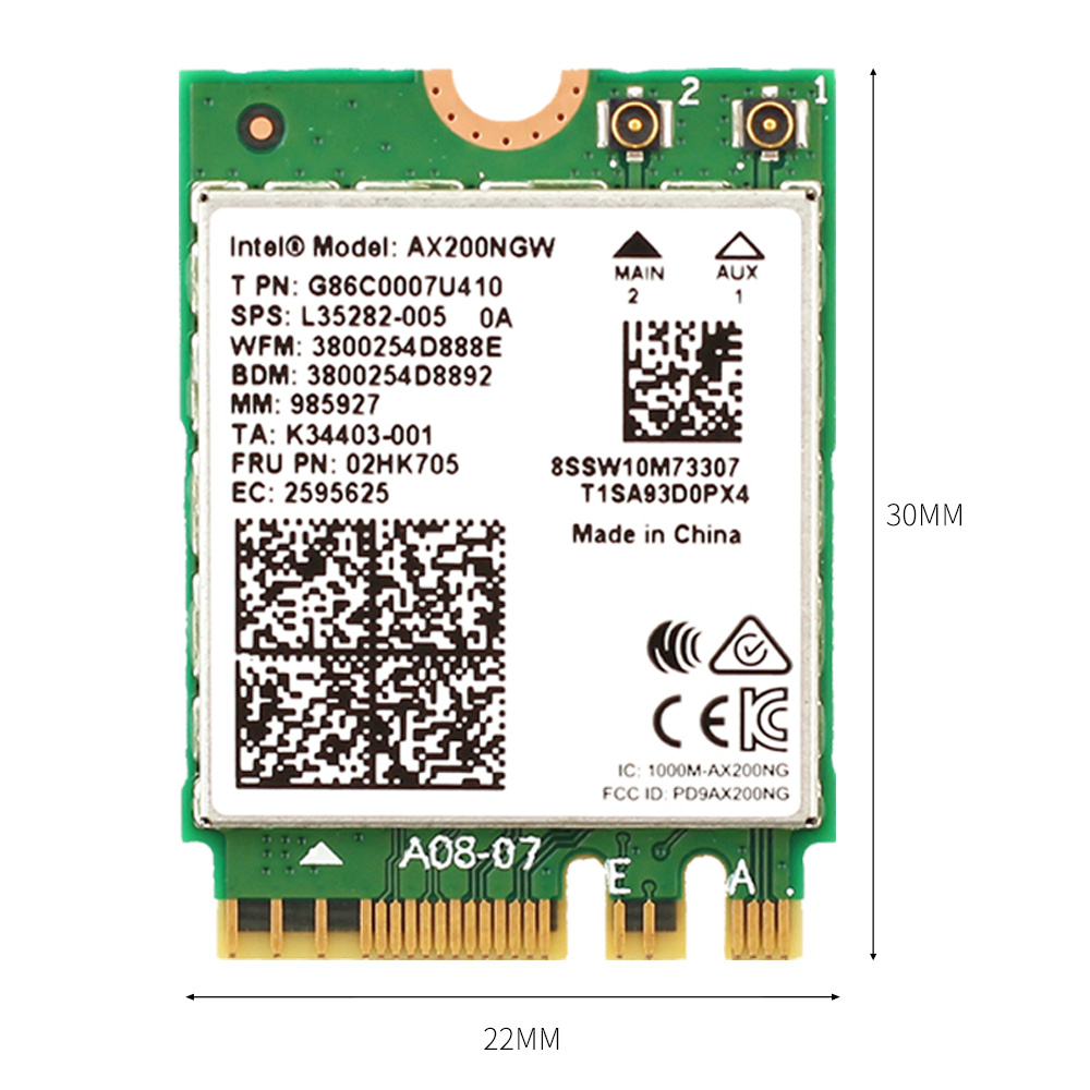 Image 3 - Dual band AX200NGW Wireless 802.11ac/ax Network Intel WiFi 6 AX200 Wlan NGFF Wifi Card 5G up to 2.4Gbps Bluetooth 5.0 + Antennas-in Network Cards from Computer & Office