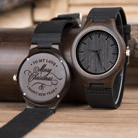 DODO DEER Classic Men Ebony Wooden Quartz Watches Personalized Your Logo Wood Timepieces Christmas Gifts in Bamboo Box Clock