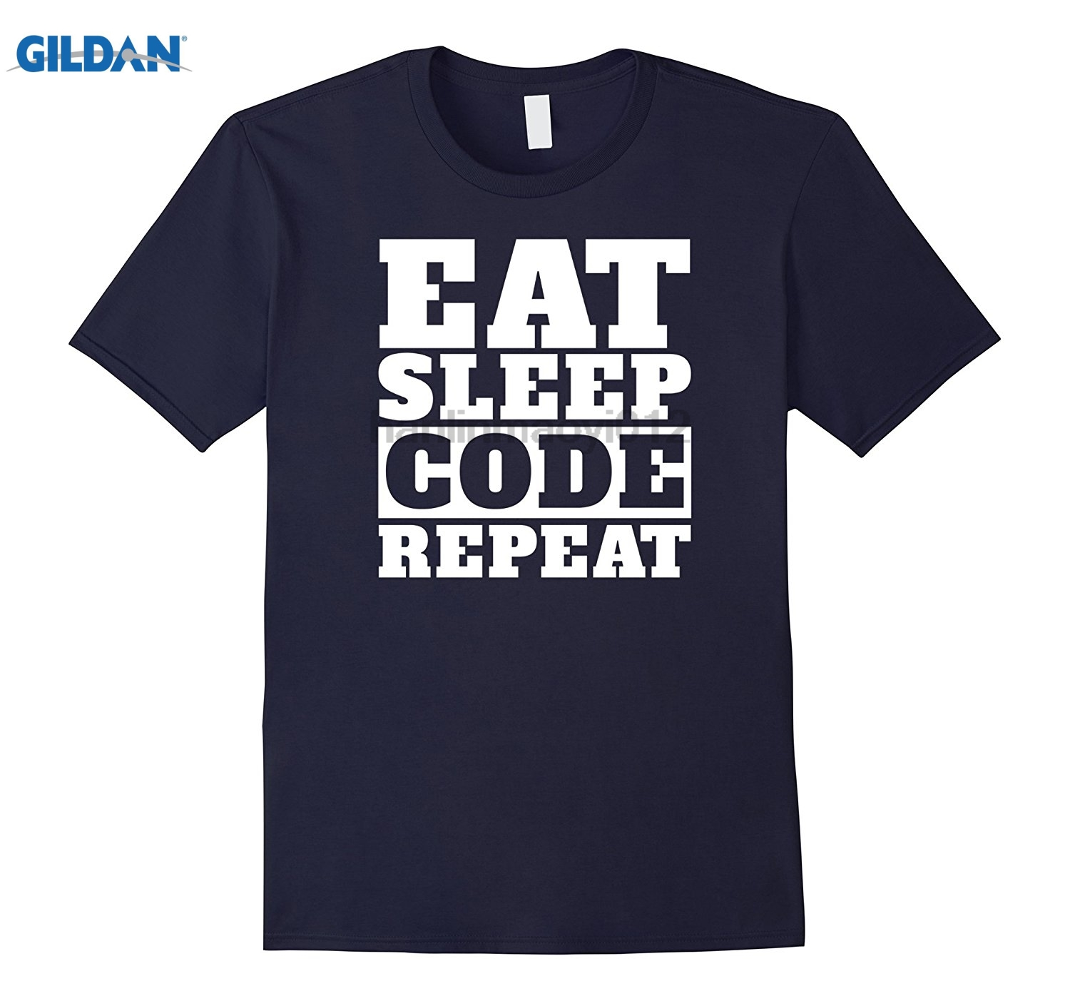GILDAN Eat sleep code repeat. Coding nerd T-shirt glasses Womens T-shirt