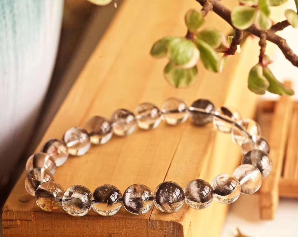 9 2mm Genuine Natural Brookite Platinum Silver Rutilated Quartz Bracelet Crystal Gemstone Round Beads Woman Man Lucky Gift AAAAA in Bracelets Bangles from Jewelry Accessories