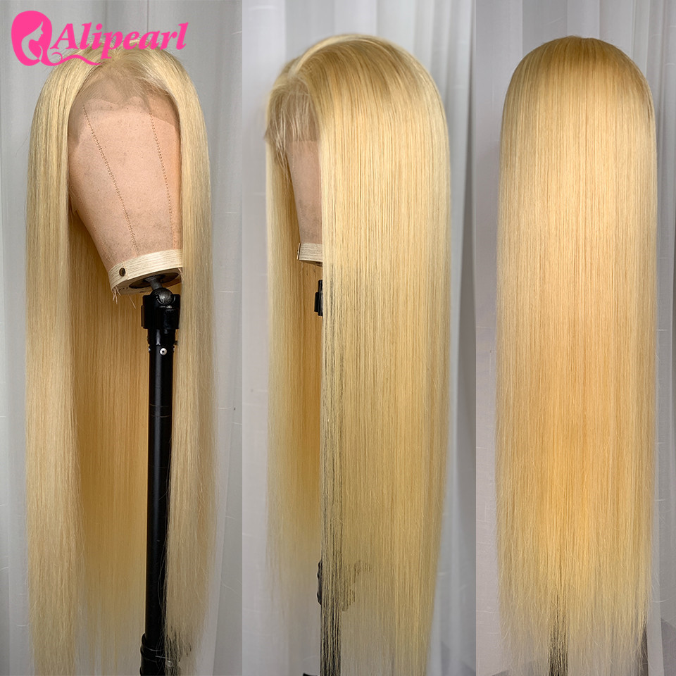 Blond Full Lace Human Hair Wigs For Black Women Pre Plucked Brazilian Straight Colored Human Hair Wigs AliPearl Hair