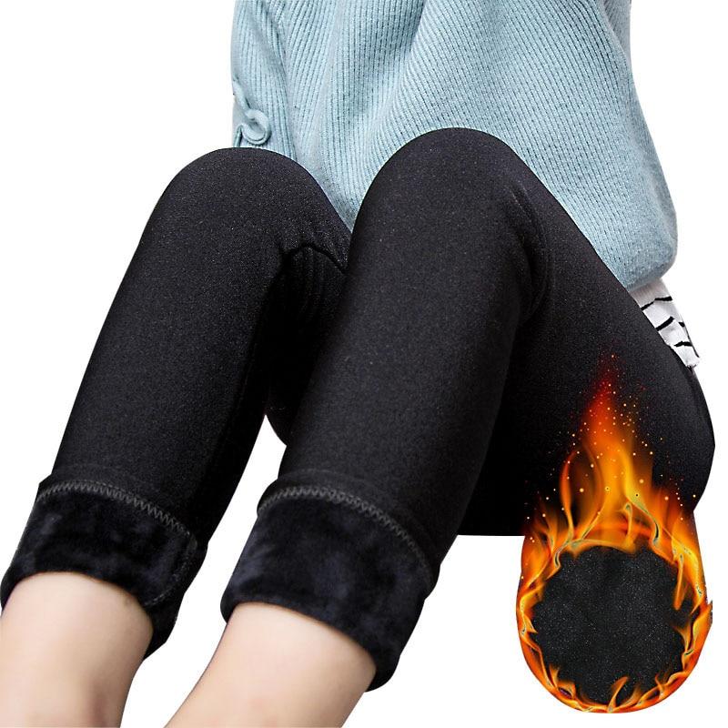 High Quality Warm Velvet Winter Leggins For Girls Kids Elastic Waist Fashion Luster Pants Boys Trousers Children Getry Leggings