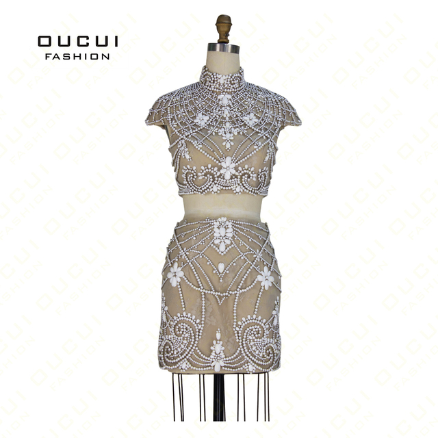 Real Photos 100% Beading Handwork High End Quality Cup Sleeves Evening Short Prom Dresses OL102657