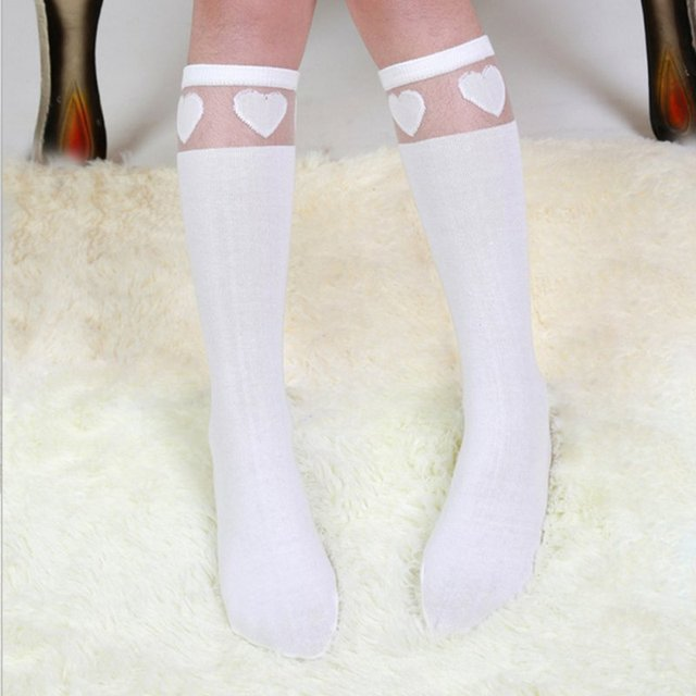 b280e1d4c37 Baby Kids High Knee Socks School Cartoon Cat Lace Solid Stockings Leg Warmer  For Girls