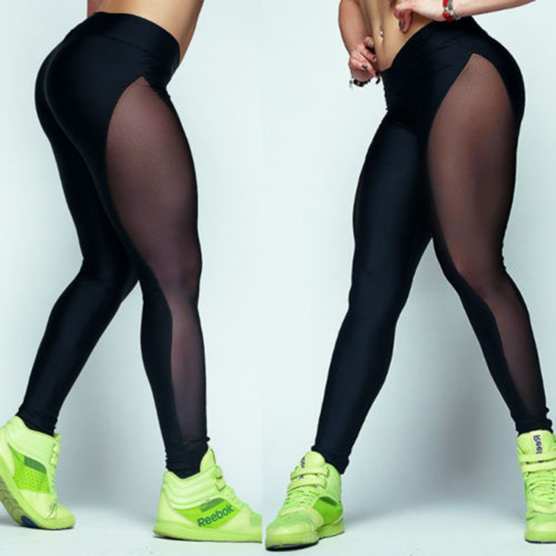Leggings Ankle-Length Workout Slim Black Sexy High-Waist Casual Womens New Mesh Pencil