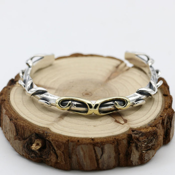 Handmade S925 Sterling Silver Jewelry Personality Punk Hyun Pattern Open Ended Retro Thai Silver Men And Women Fashion Bangle