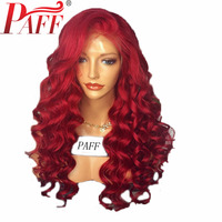 PAFF Red 13*6 Lace Front Human Hair Wigs for Women Loose Deep Wave Brazilian Remy Hair Pre Plucked Lace Wig With Baby Hair