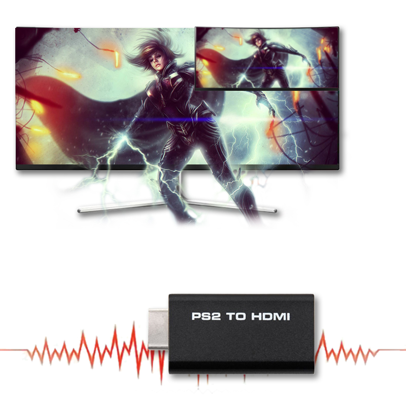 HDV-G300 PS2 To HDMI 480i/480p/576i Audio Video Converter Adapter With 3.5mm Audio Output Supports All PS2 Display Modes