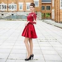 Последние конструкции вечернее платье Новая мода Аппликации Красная атласная Потрясающие одежда с длинным рукавом Best продавать сексуальн...