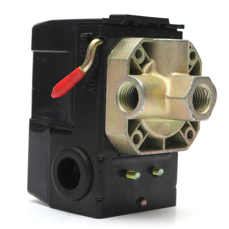 Pressure Switch Control Valve 90-120PSI 4 Air Compressor PORT 26 AMP Unloader 2 Pole Rating  240VAC vertical type replacement part 1 port spdt air compressor pump pressure on off knob switch control valve 80 115 psi ac220 240v