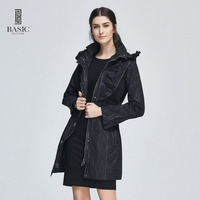 Basic Editions Women Spring Autumn Thin Slim Fit Casual Outerwear Overcoat Hood Belt Jacket Coat F0970