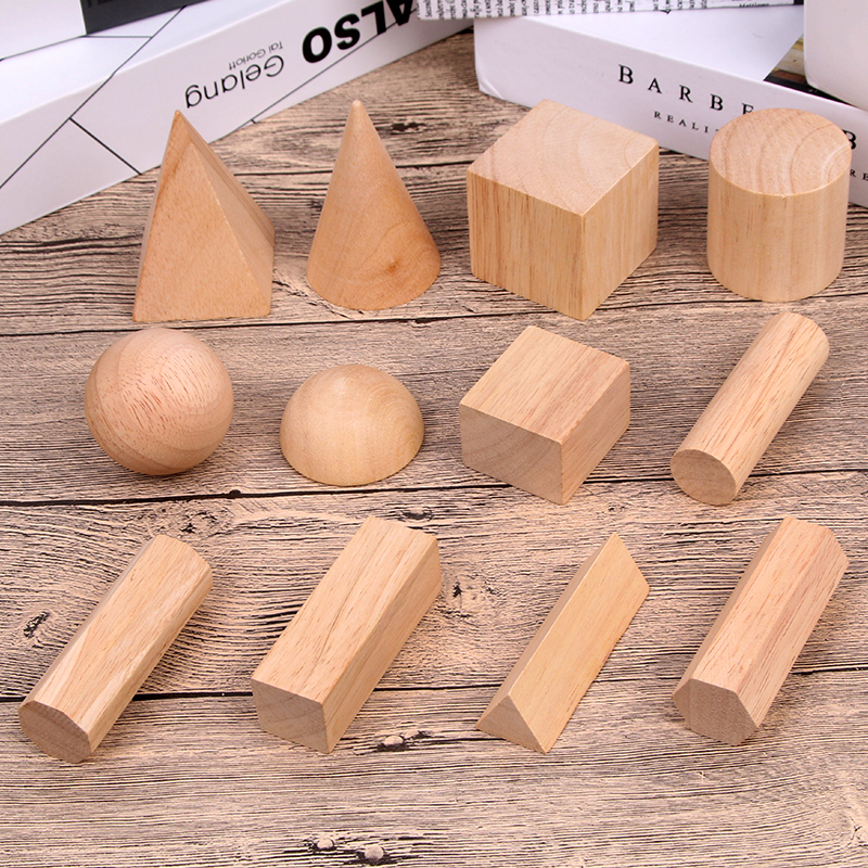 Image 2 - 12/15pcs Color Wooden Geometry Combination Teaching Aids Children Early Education Building Blocks 3D Educational Toys-in Wooden Blocks from Toys & Hobbies