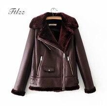 2018 New Autumn Winter Moto Biker Leather Jacket Women Turn-down Collar Female Zipper Faux Wool Liner Warm Black