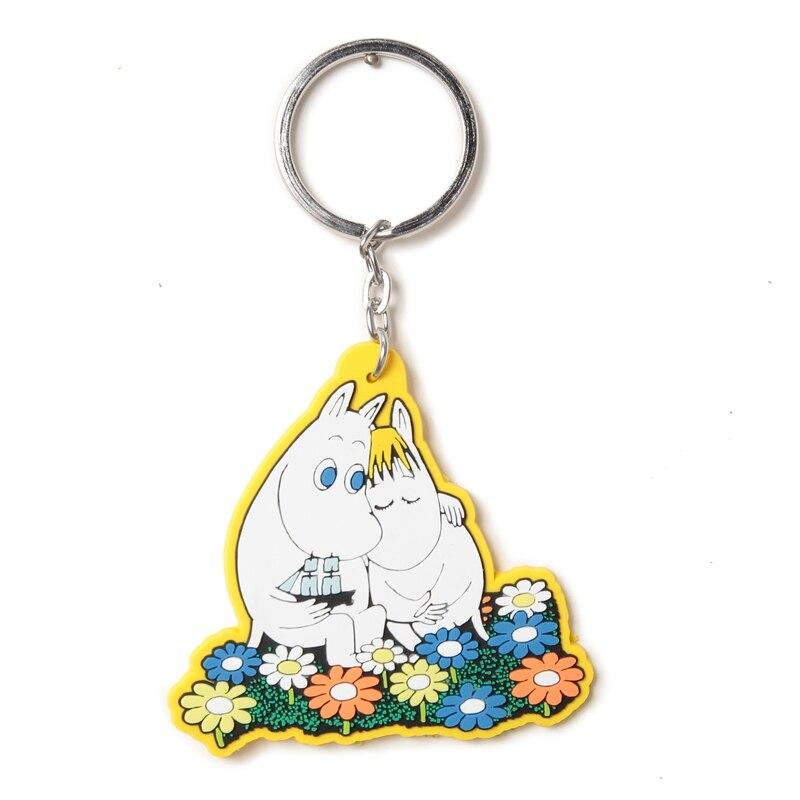 Moomin Mummi Keychain 2019 New Arrival Fashion Unisex Hippo Character Plush Keychain  Romantic Yellow Resin Key Ring(China)
