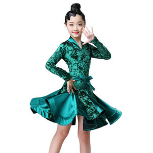 Image 2 - Autumn Winter latin dresses for dance ballroom dance dress rumba samba velvet children samba cha cha tango skirt standard salsa