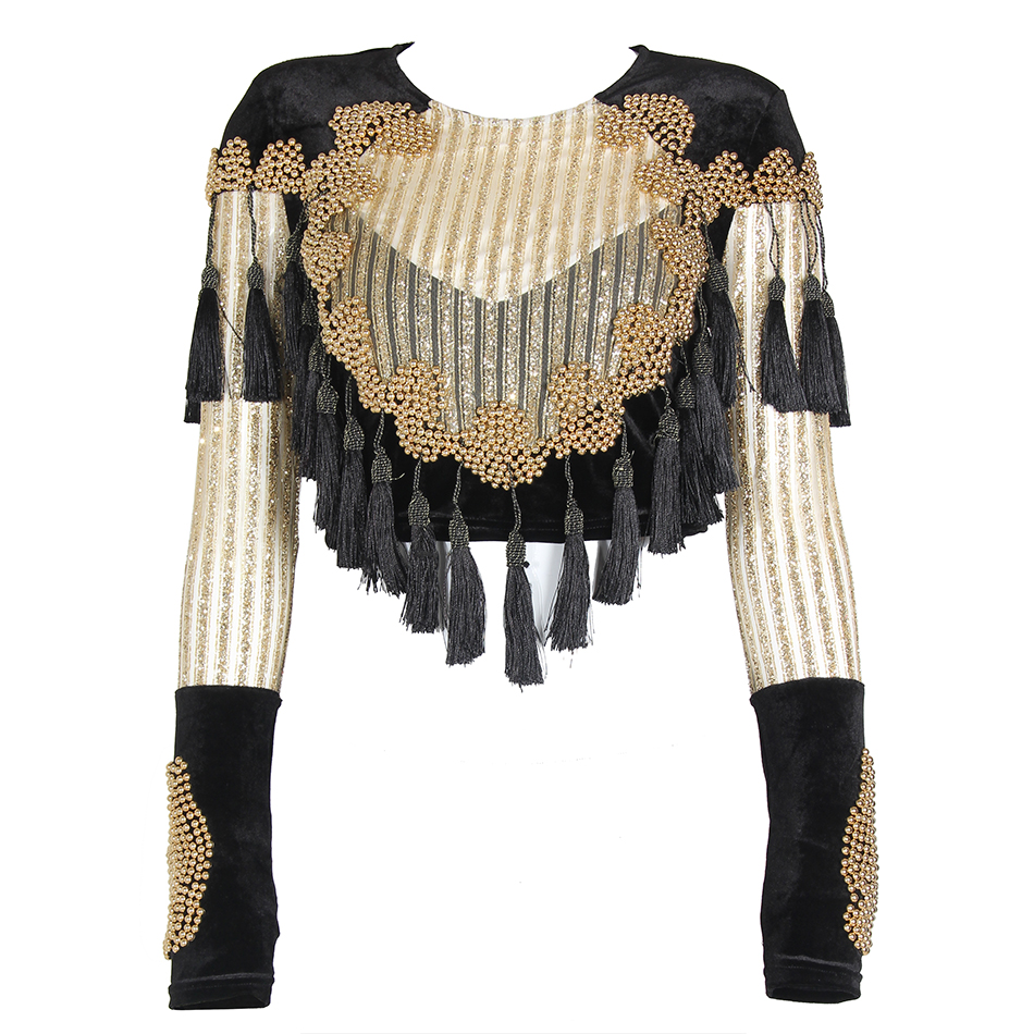 2017 Chic Celebrity Runway Velvet Jacket O neck Black Gold Beading mesh sequins Tassels Long Sleeve Sexy jacket Vestidos