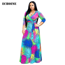 Colorful Floral Print Maxi Dress Leaves Print V-neck Elegant Party Long Dress Plus Size Femme Robe Sexy Slim Vestidos with Belt цена 2017