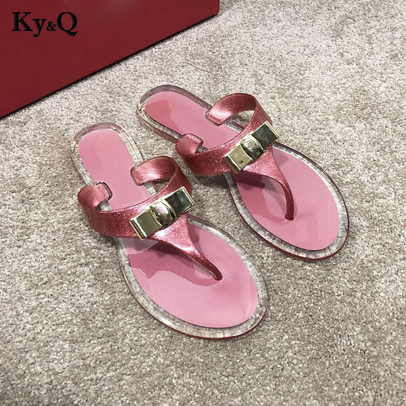 3b4a8b1a1 ... Metal Beach Flip Transparent Female Slippers Outside Shoes Fashion  Ladies Summer Women Flops New 2018 Jelly ...