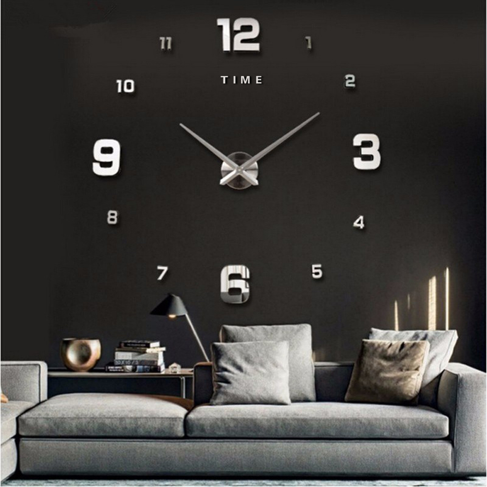 3D DIY Large Wall Clock Modern Design Mute Big Decorative Digital Clocks Acrylic Mirror Stickers Oversize Wall Clock Time Letter