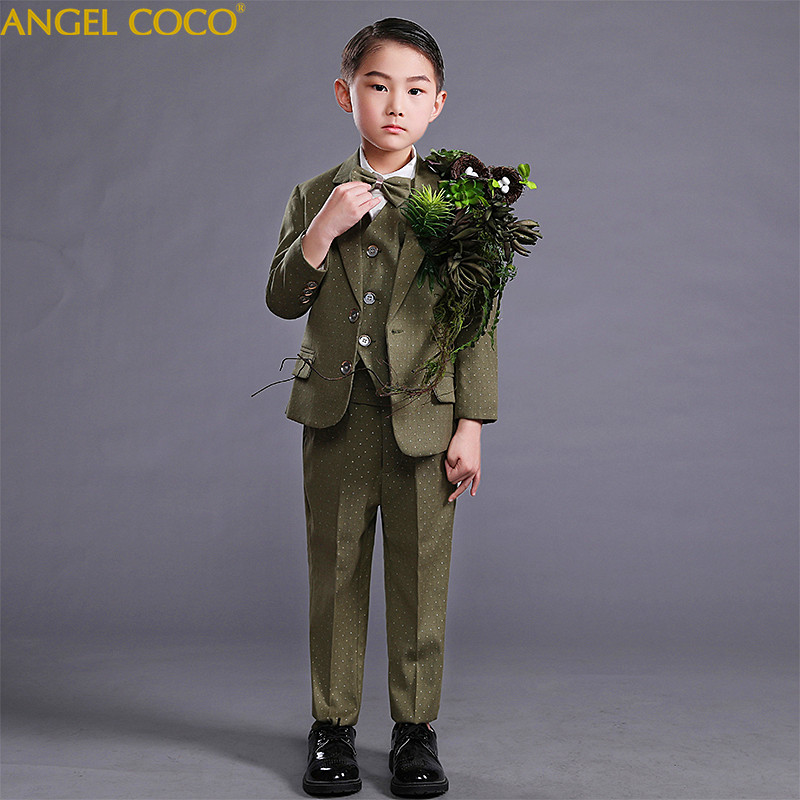 2018 New Fashion ArmyGreen Baby Boys Suit Kids Blazers Boys Suits For Weddings Prom Formal Spring Autumn Wedding Dress Boy Suits