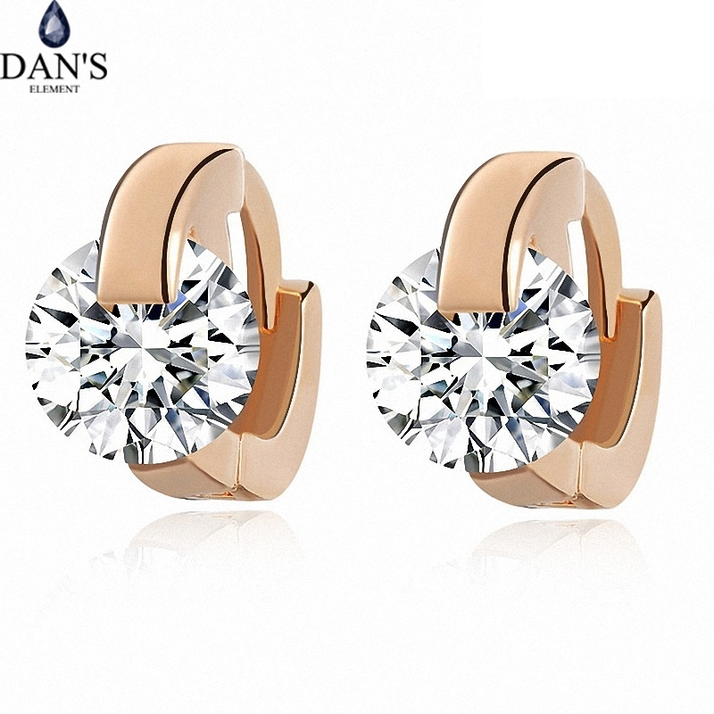 DAN'S ELEMENT Austrian AAA zirconia Copper Rose Gold Color Fashion  Stud Earrings for Women AAA zirconia  vintage DEE21151