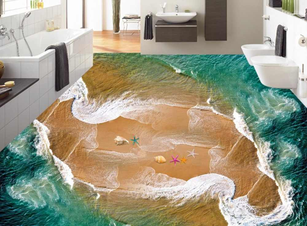 3d Flooring Photo Wallpaper High Quality Beach waves Wall paper For Kids Room 3D Floor Self Adhesive Wallpaper