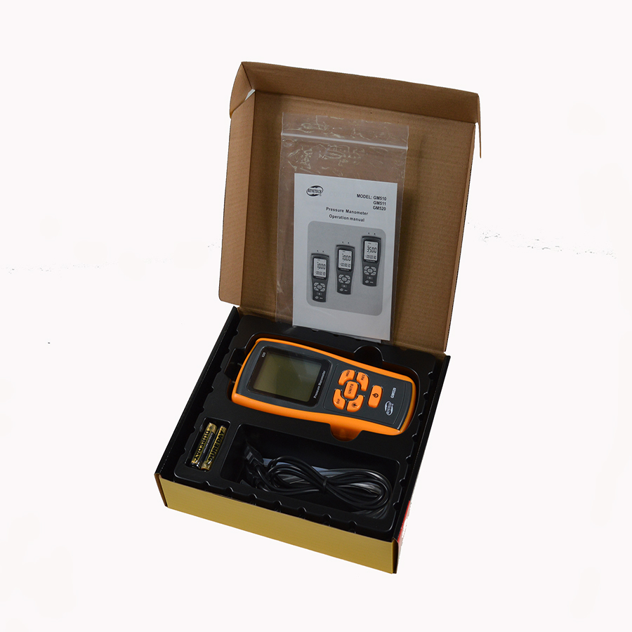 GM511 50KPa Digital LCD display Pressure manometer yellow differential manometer pressure gauge lcd pressure gauge differential pressure meter digital manometer measuring range 0 100hpa manometro temperature compensation