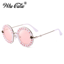 WHO CUTIE 2018 Small Round Sunglasses Women Retro Fashion Pink Mirror Lens English Letters Frame Ladies Sun Glasses Shades OM467