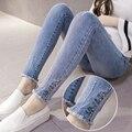 2016 зимой материнства беременность джинсы материнства жан брюки для беременных женщин эластичный пояс регулируемая жан беременная беременность